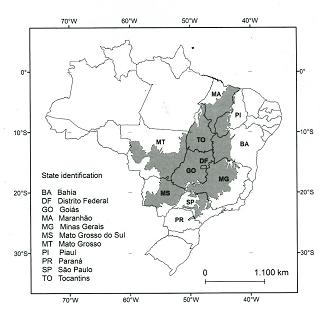 Karte: Brasilianisches Cerrado-Gebiet und die MATOPIBA-Region